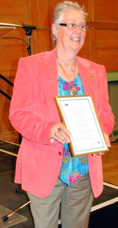 Sue Sanders with certificate